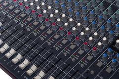Multi Channel Mixer. Photo of a multi channel mixer. All the levels are set to the lowest value Royalty Free Stock Photo