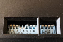 Multi Channel Selector Switch. Built-in at black panel Stock Photo
