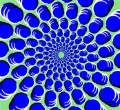 Multi circle tunnel optical illusion with perceived motion royalty free illustration