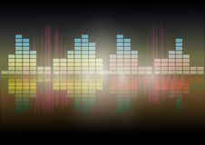 Multi color  Audio waveform technology background  Digital equalizer technology abstract  Vector image. The Multi color  Audio waveform technology background Stock Photography