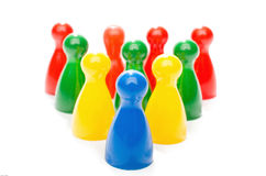 Multi Color Board Game Pieces in Formation Stock Image