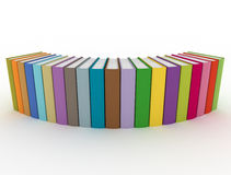 Multi color books in a row. Row of colorful books on white background Royalty Free Stock Photography