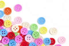 Multi color buttons on white background. With copy space Royalty Free Stock Images