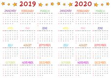 Colored 2019-2020 Calendar for Kids royalty free stock photos