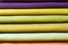 Multi color chenille fabrics. Tissue samples. Multi color chenille tissue samples Fabric texture background Royalty Free Stock Image