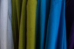 Multi color of clothing made from cotton, Close up Stock Photos