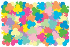 Multi color of clubs card put overlap to pattern. colorful of geometry shape overlay to texture. Multi color of clubs card put overlap to pattern. colorful of stock illustration