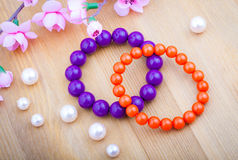 Multi color coral bangles Royalty Free Stock Photography