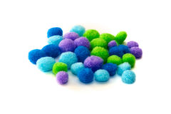 Multi color craft pompoms Royalty Free Stock Images