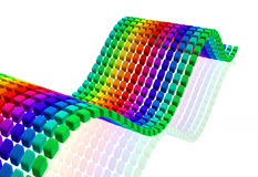 Multi color cube wave with reflection. Multi color cube wave shape background 3d illustration Royalty Free Stock Photo