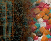 Multi color cubes with a color splatter and digital pattern. Combination Royalty Free Stock Image