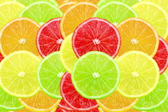 Multi color different citrus slices as background Stock Photos