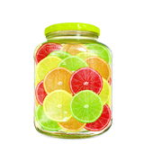 Multi color different citrus slices in bottle jar Royalty Free Stock Images