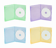 Multi color DVD box. Four multi-color DVD cases on white background Royalty Free Stock Photography