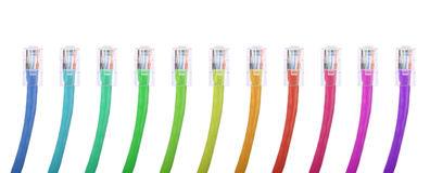 Multi color ethernet network plugs stock photo