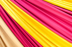 Multi color fabric in a row Stock Image
