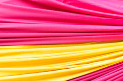 Multi color fabric in a row Royalty Free Stock Images