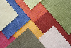 Multi color fabric texture samples. And background Royalty Free Stock Images