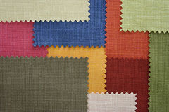 Multi color fabric texture samples Stock Photos