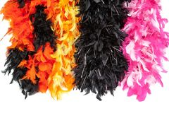 Costume multi-color feather scarf, costume fluffy feather royalty free stock photos