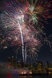 Multi-Color Fireworks Over Portland Oregon Skyline Stock Photo