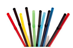 Multi Color flexible drinking straws on white Stock Image