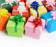 Multi color gift boxes. On white background Royalty Free Stock Images