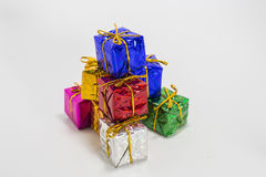 Multi color gift boxes Royalty Free Stock Photos