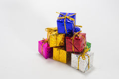 Multi color gift boxes Stock Images