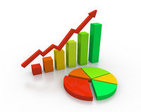 Multi color growing graph. Photo of multi color growing graph Royalty Free Stock Photography