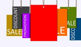 Multi color hanging sales tags Stock Photos