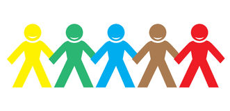 Multi color happy people holding hands Stock Photo