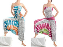 Multi-Color Harem Pants with Indian Pattern Stock Photos