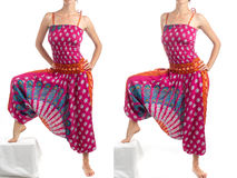 Multi-Color Harem Pants with Indian Pattern Stock Images