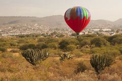 Multi color hot air balloon. Flying just above the ground with cactus in the foreground Stock Photos