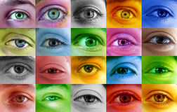Multi color human eyes Royalty Free Stock Image