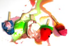 Multi color Ice cream melted royalty free stock photo