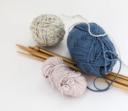 Multi color knitting yarn with needles Royalty Free Stock Photo