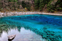 Multi color lake, Jiuzhaigou Stock Photos