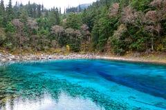 Multi color lake, Jiuzhaigou Stock Photo