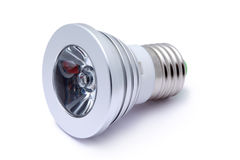 Multi Color LED Light Bulb Isolated On White Royalty Free Stock Photo