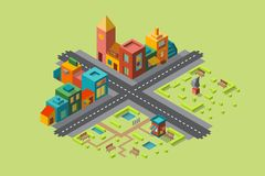 Multi-color map of the city in isometr. Multi-colored map of the city with shops and a Park in isometry royalty free illustration