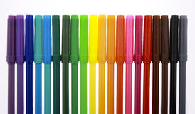 Multi color markers with caps Royalty Free Stock Photos