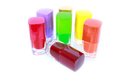 Multi color nail polish set object Royalty Free Stock Photography