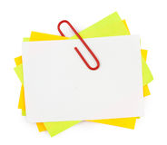 Multi color note with red paper clip Stock Photos