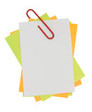 Multi color note with red paper clip Stock Photo