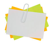 Multi color note with red paper clip Royalty Free Stock Image