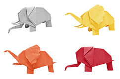 Multi color origami elephant Stock Images