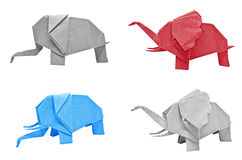 Multi color origami elephant Royalty Free Stock Photos