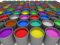 Multi color paint cans. 3d illustration of rows of multi-color paint cans Royalty Free Stock Photo